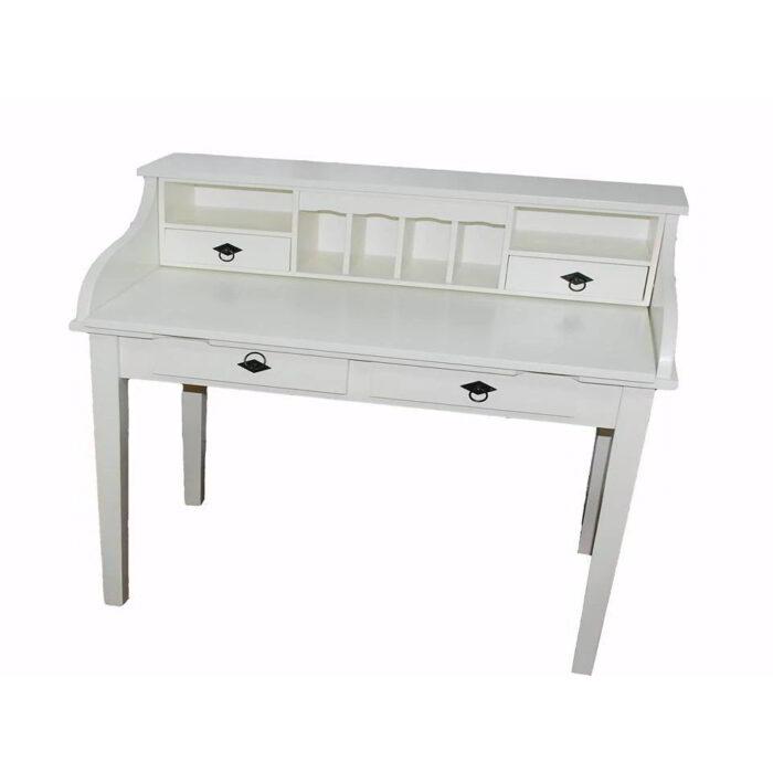 Masă birou albă tip scrin din lemn