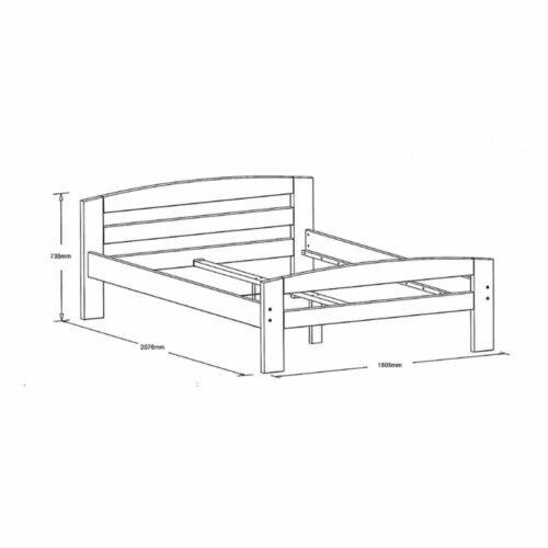 Pat dormitor Erling lemn masiv brad 2 persoane 140x200 schema