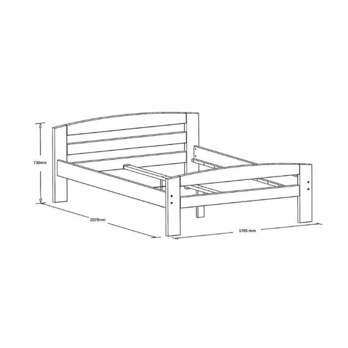 Pat dormitor Erling lemn masiv brad 2 persoane 160x200 schema