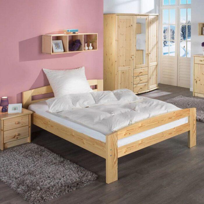 Pat dormitor Erling lemn masiv brad 2 persoane design interior